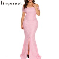 Woman large sizes dress Tube sexy boat collar Short Sleeves Lace Maxi split front Dresses elegant for party or dinner