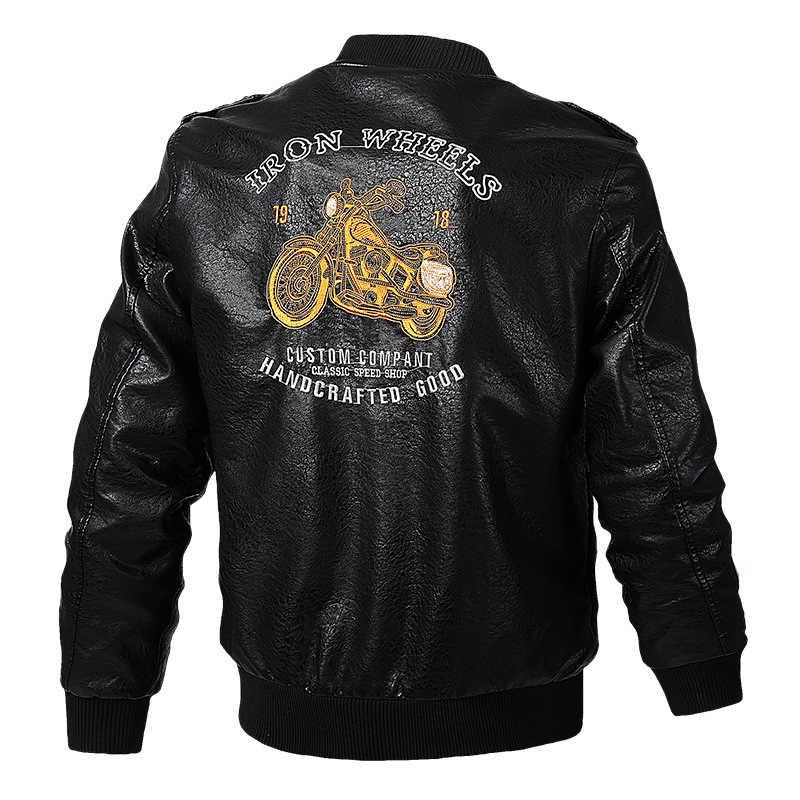TACVASEN Giả Áo Khoác Da Nam Xuân Xe Máy Biker Áo Khoác Da Áo Khoác Thêu Phi Công Lái Máy Bay Ném Bom PU Áo Da Nam