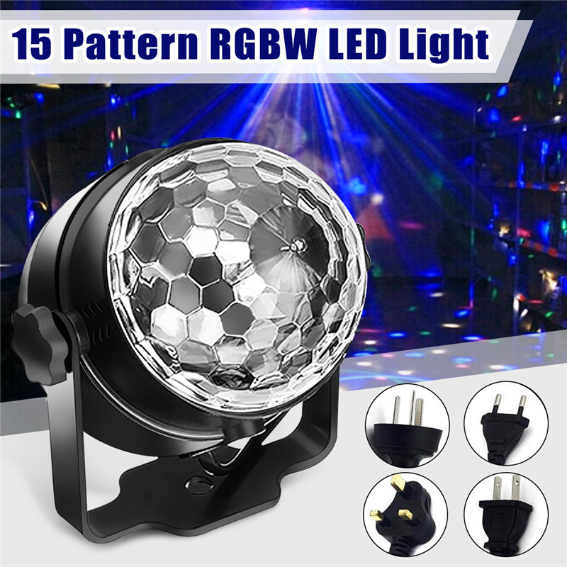 CLAITE 15 Patterns 9W RGBW LED Water Wave Stage Lamp Remote Sound Control LED Effect Magic Ball Stage Light for Christmas PartyCLAITE 15 Patterns 9W RGBW LED Water Wave Stage Lamp Remote Sound Control LED Effect Magic Ball Stage Light for Christmas Party