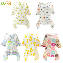 Купить с кэшбэком Warm Dogs Pajamas For Small Pet Dog Cat Clothes Puppy Jumpsuit For Dog Coat For Chihuahua Pomeranian Dogs Print Clothing Shirt