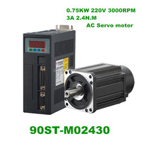 High Quality 90ST M02430 220V 750W AC Servo motor 3000RPM 2.4 N.M. 0.75KW Single Phase ac drive permanent magnet Matched Driver