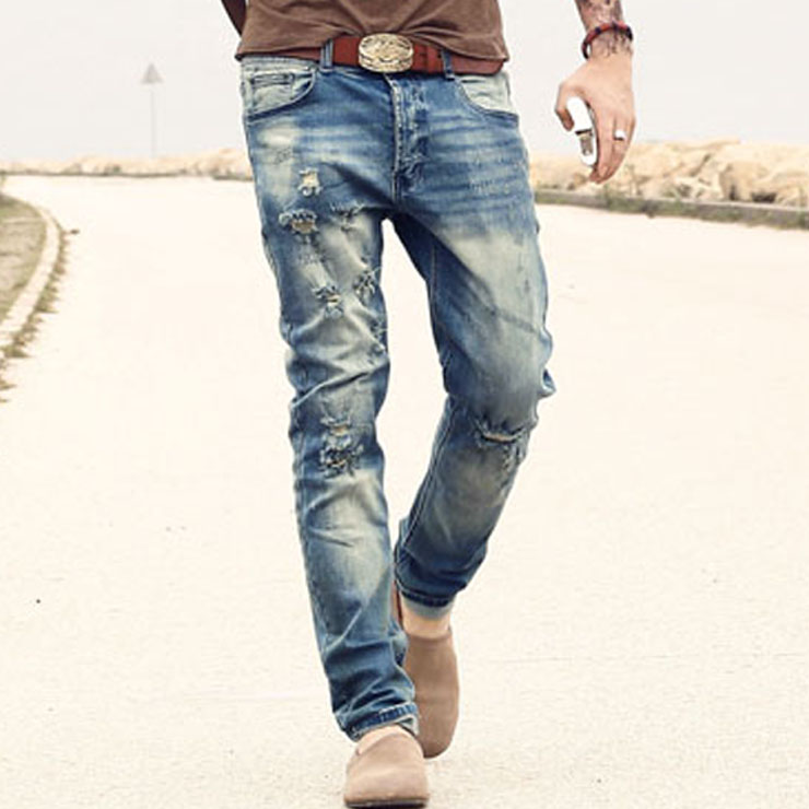 2017 new men's   jeans   Ripped Holes pants Korean style elasticity casual trousers cool stretch man denim pants spring and summer