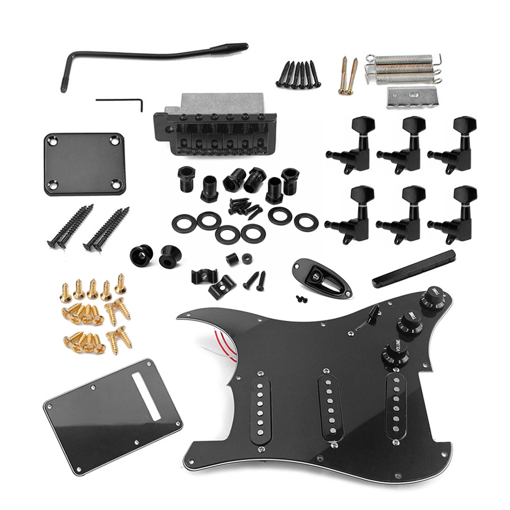 Electric Guitar Full Set DIY Accessories Kit Including Prewired Pickguard Bridge SSS Pickups and Other Accessories BlackElectric Guitar Full Set DIY Accessories Kit Including Prewired Pickguard Bridge SSS Pickups and Other Accessories Black