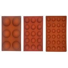 Yarım küre şekli silikon 6/15/24 delikli gıda sınıfı pişirme aksesuarları çikolata şekerleme kalıbı Bakeware mutfak aletleri