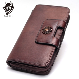 Image 1 - Ręcznie malowane portfel wielofunkcyjna duża pojemność górna warstwa skóry wołowej Vintage portfele damskie wysokiej jakości czysta skóra bydlęca skórzana portmonetka