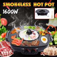 220v 50Hz 1600w 2 in1 Electric Multi Cooker Barbecue Pan Hot Pot Indoor Ourdoor Electric Smokeless BBQ Griddles Dish Roast plate