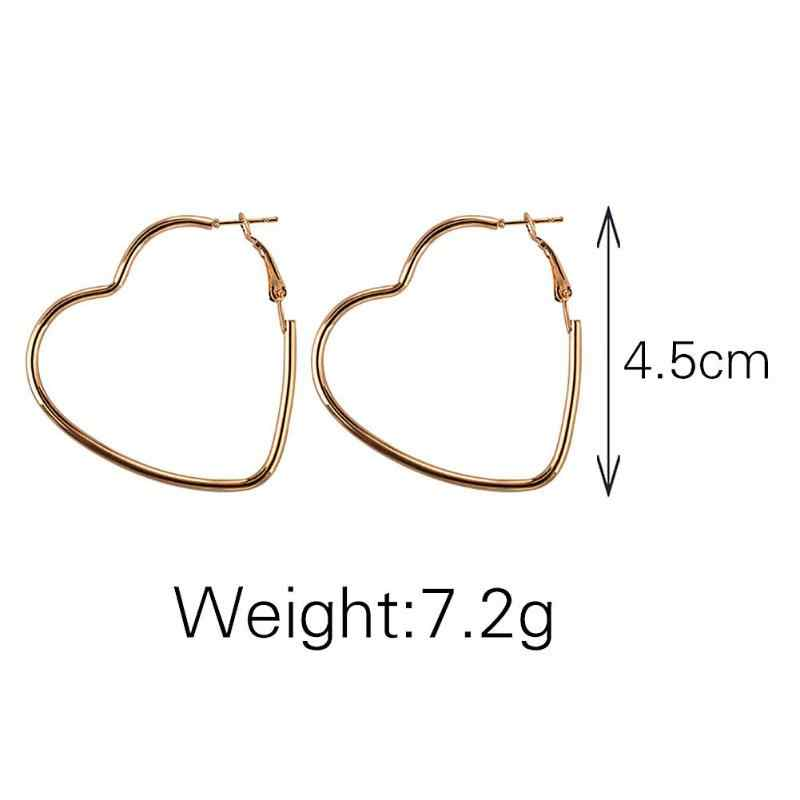 Simple Fashion Heart Metal  Hollow Plating Hoop Earring Gold&Silver Color Earrings Jewelry For Girls Women Gifts