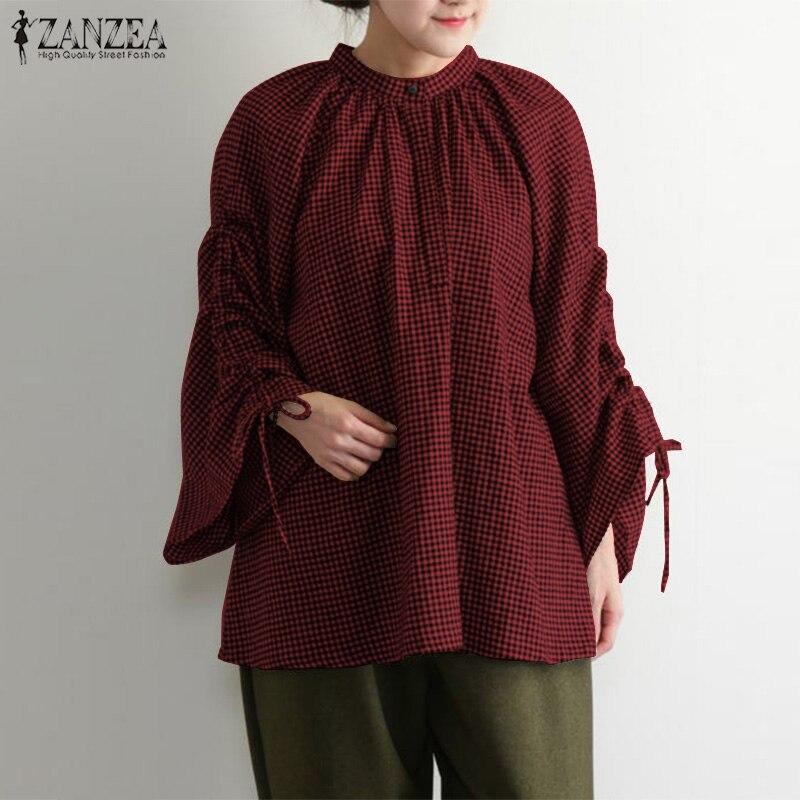 Oversized Check Shirts Women's Casual Blouses 2019 ZANZEA Female Vintage  Adjustable Sleeve Pleated Blusas Kaftan Tunic Tops 5XL