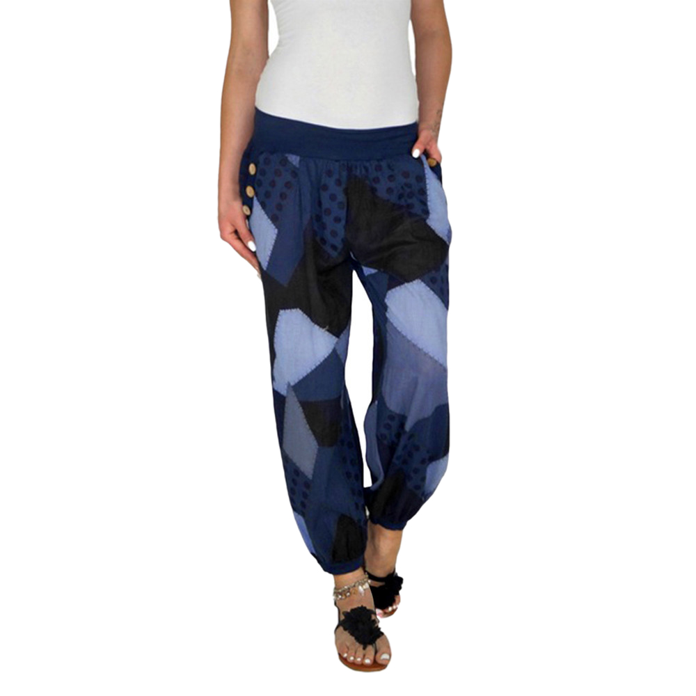 Women Casual Print Patchwork   Pants     Wide     Leg     Pants   Loose Pocket Button Harem   Pants   Autumn Fashion High Waist Boho Elastic Waist