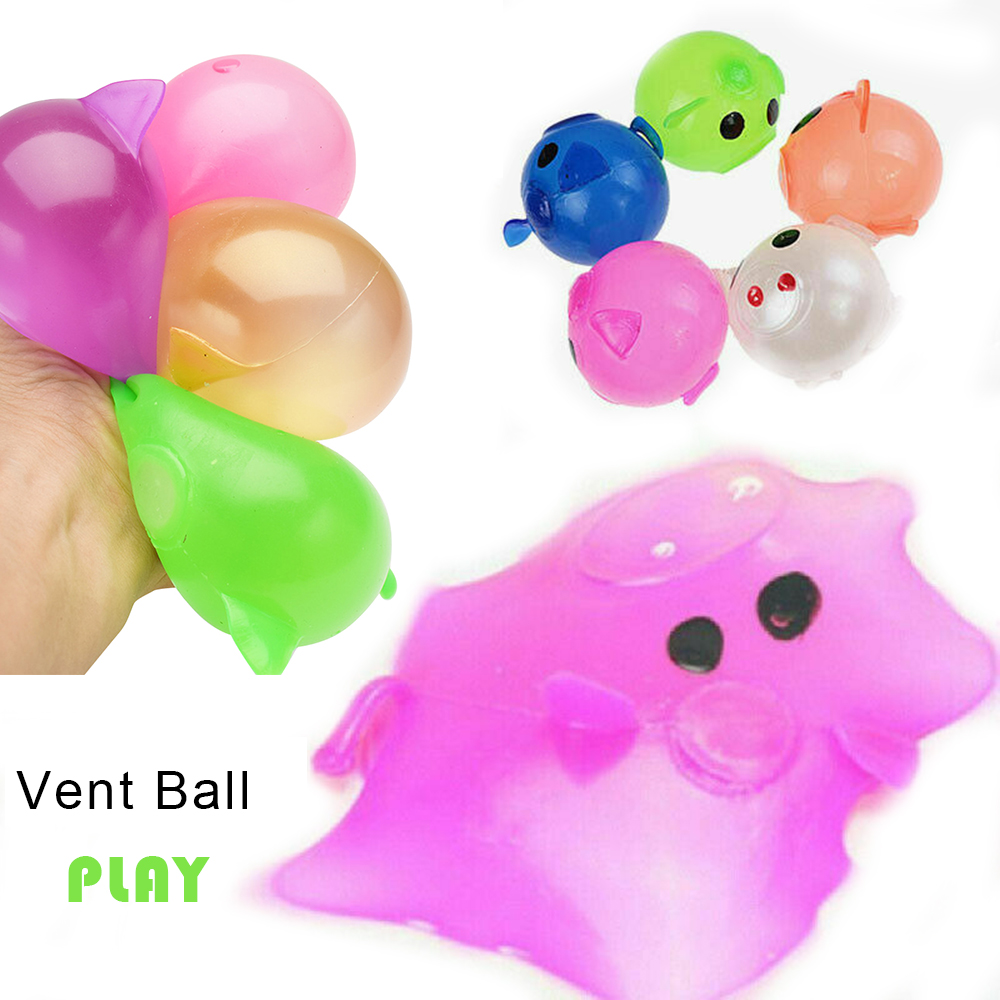1Pcs Stress Relief Decor Jello Pig Cute Anti Stress Splat Water Pig Ball Vent Toy Venting Sticky Squeeze Toy Children Gags Toy