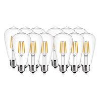 SHINA 12pcs 4W/6W ST64 Edison Antique LED Filament Bulb 2700K/4000K Daylight White Not Dimmable E26/E27Base 110V/220V