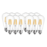 SHINA 12pcs 4W/6W ST64 Edison Antique LED Filament Bulb 2700K/4000K Daylight White Not Dimmable E26/E27Base 110V/220V