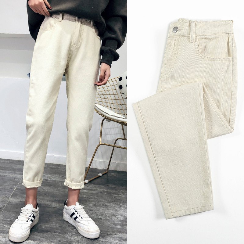 2019 Spring Summer Women Causal High Waist White   Jeans   Korean Fashion Elastic Waist   Jeans   Trousers