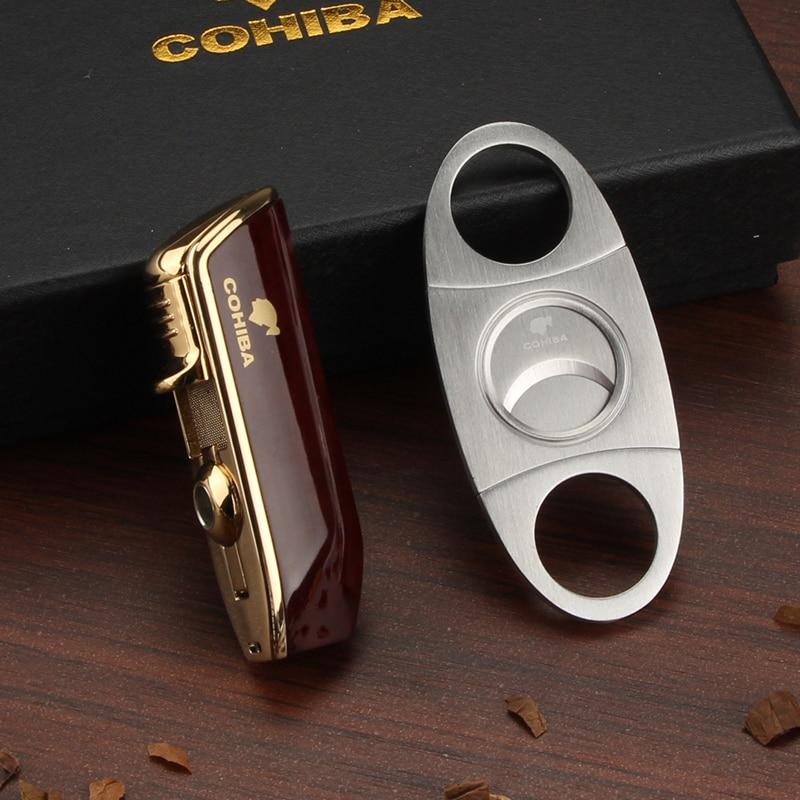 COHIBA Cigar Lighter 3 Jet Torch Flame Lighter Stainless Steel Cigar Cutter Sharp With Cigar Puncher Gift Box Set