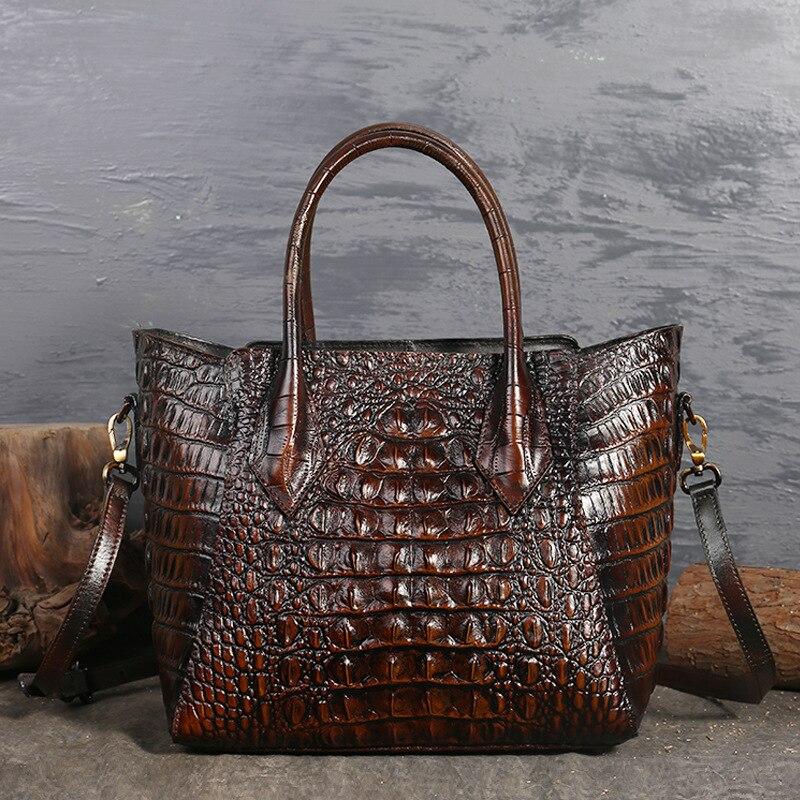 Top Quality Genuine Leather Messenger Shoulder Top Handle Bags Crocodile Pattern Women Oil Wax Cowhide Cross Body Tote Handbag-in Top-Handle Bags from Luggage & Bags    1