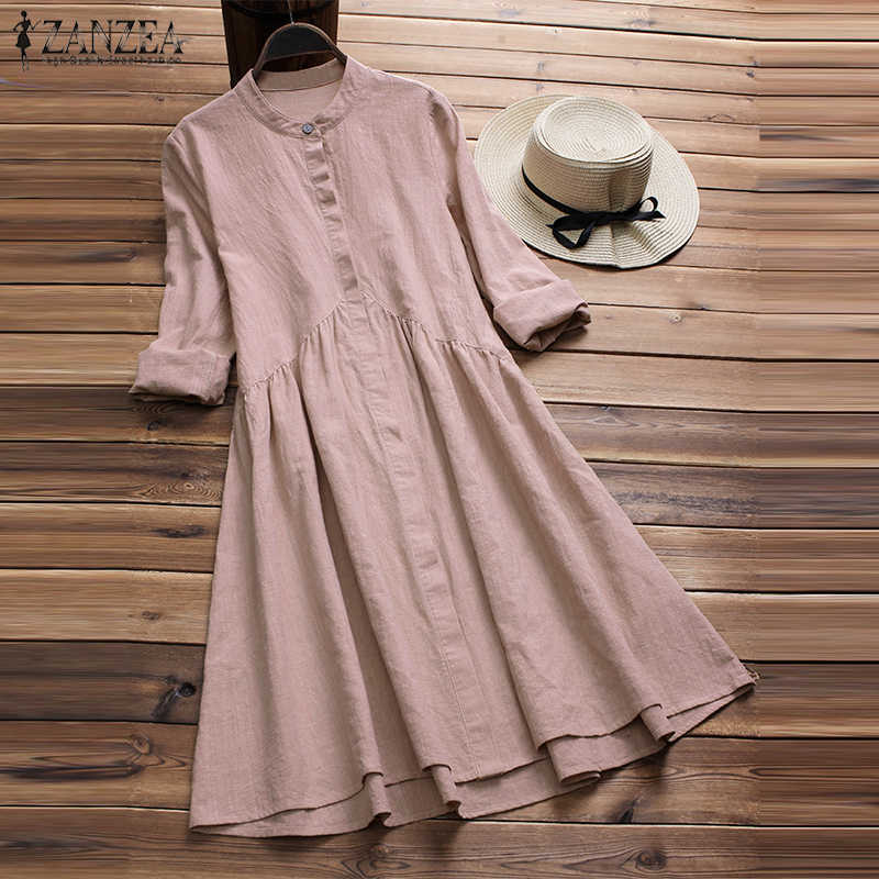 ZANZEA femmes bouton vers le bas Robe élégante dame coton linge Vestido Femme Mandarin col robes Robe Femme Sundress grande taille