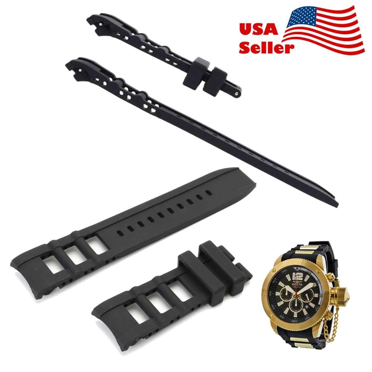 1Pc 26mm Black Rubber Watch Band Strap Fit Invicta Signature II Russian Diver Chronograph Collection
