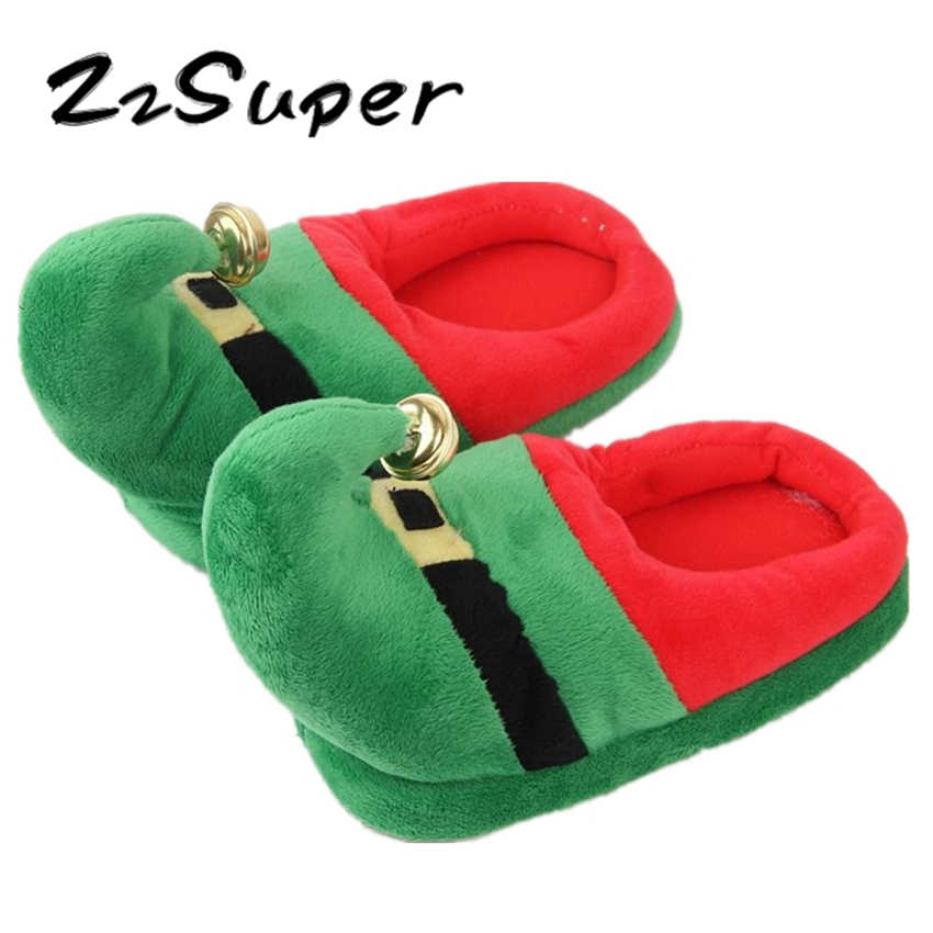 59155a150dca ZzSuper Christmas 2018 Winter House Warm Slippers New Year Thicken Green  Santa Claus with Bell Xmas