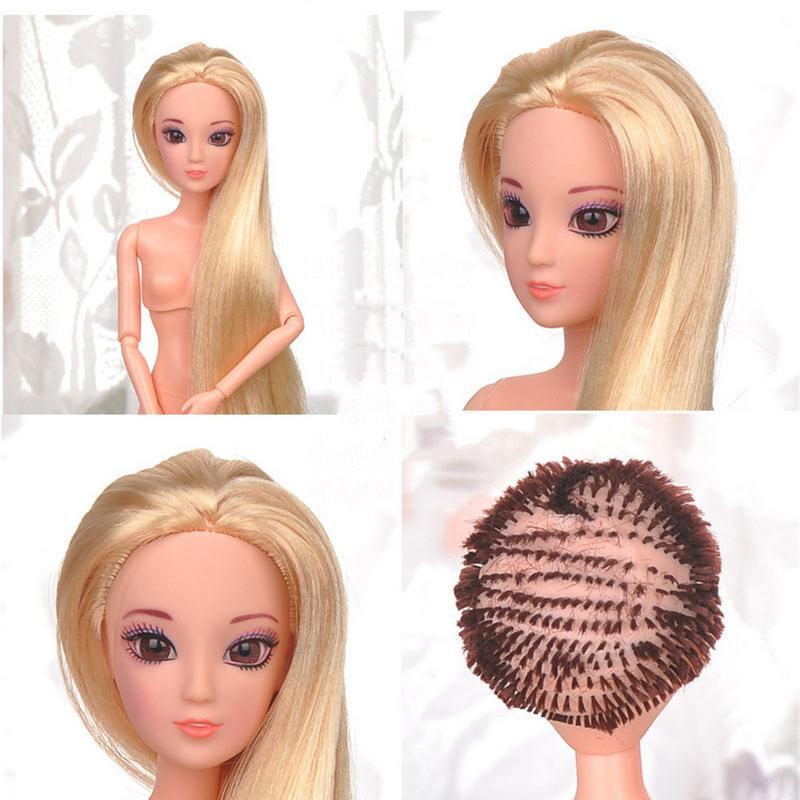 32 см многоцветные Волосы Кудрявые прямые обнаженные куклы с головой шаровой шарнир подвижные DIY игрушки Аксессуары подарок на день рождения для девочки
