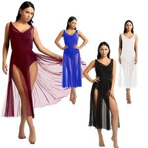 Image 3 - TiaoBug New Women Mesh Ballet Tutu Dress Built In Shelf Bra Leotard Adult Gymnastics Leotard Contemporary Lyrical Dance Costumes