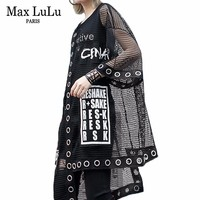 Max LuLu 2019 Luxury Korean Designer Ladies Mesh Tops Tee Shirts Women Sexy Summer Tshirt Punk Streetwear Vintage Casual Clothes