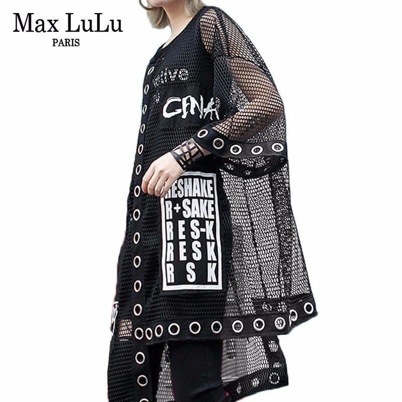 Max LuLu 2019 Luxury Korean Designer Ladies Mesh Tops Tee Shirts Women Sexy Summer Tshirt Punk Streetwear Vintage Casual Clothes
