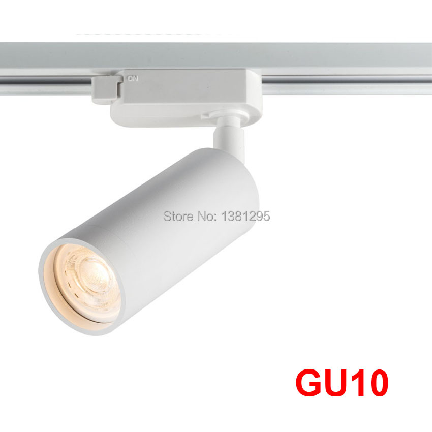 GU10 Track Light Spotlight LED Rail Lamp Spot Light Fixtures For Home Store Shop Showroom Black White 2wire 1 Phase Tracklight