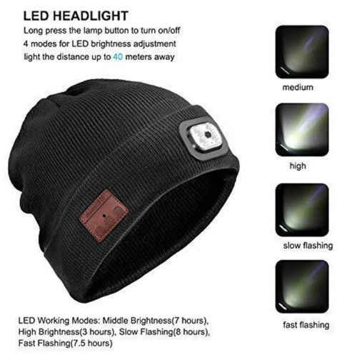9b45212cb86 ... Women Men Wireless Bluetooth Beanie Hat With LED Headlamp USB  Rechargeable Unisex Musical Hats Solid Warm ...