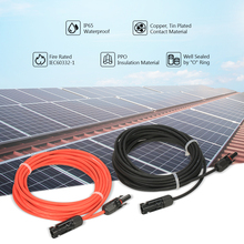 1 Pair 20 Feet Black + 20 Feet Red 10AWG Solar Panel Extension Cable Wire with MC4 Female and Male Connector