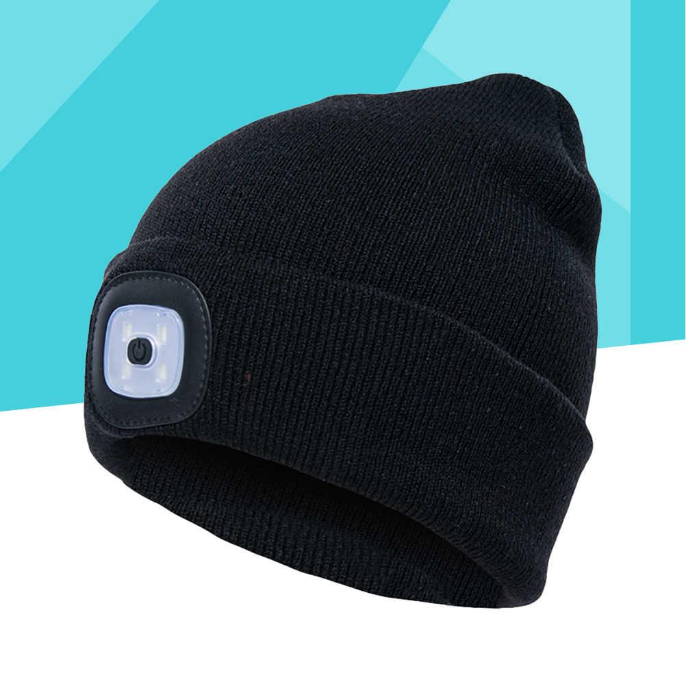 Светодиодная лампа наружного освещения шляпа Кнопка батарея вязаная шляпа креативная простая Кепка с лампой для дома путешествия Пешие прогулки (черный)
