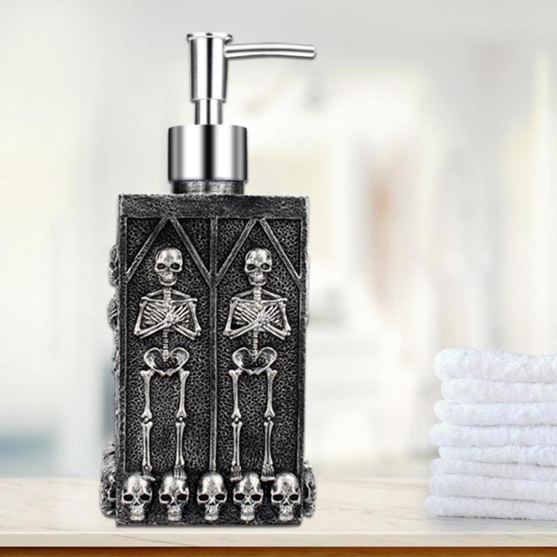 460ml Large Capacity Resin 3D Skull Hand Sanitizer Bottle Soap Dispenser Pressing Carved Shampoo Liquid Soap Shower Gel Holder