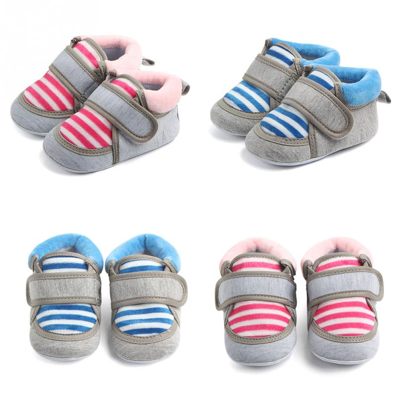 New Anti-skid boys girls kids Crib shoes baby Stripe Shoes Autumn Spring  Half rubber Soled Cotton Clothing Shoes**