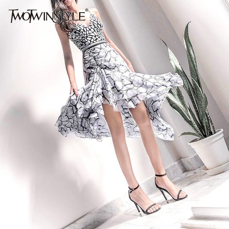 TWOTWINSTYLE Elegant Print Dress For Women Off Shoulder Sleeveless High Waist Slim Asymmetrical Midi Dresses Female