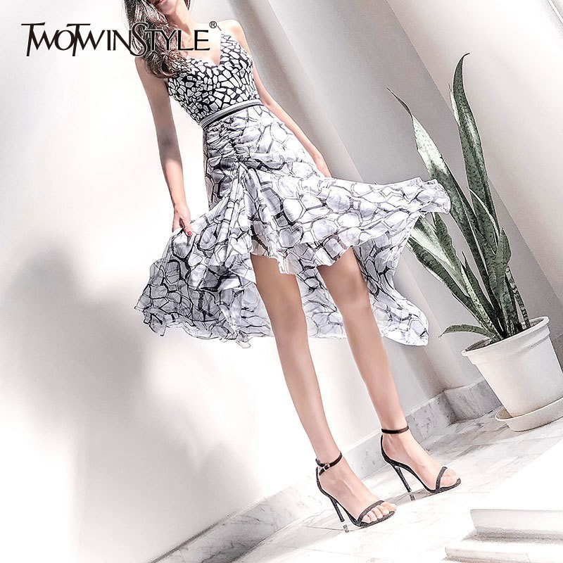 TWOTWINSTYLE Elegant Print Dress For Women Off Shoulder Sleeveless High Waist Slim Asymmetrical Midi Dresses Female Summer 2019-in Dresses from Women's Clothing    1