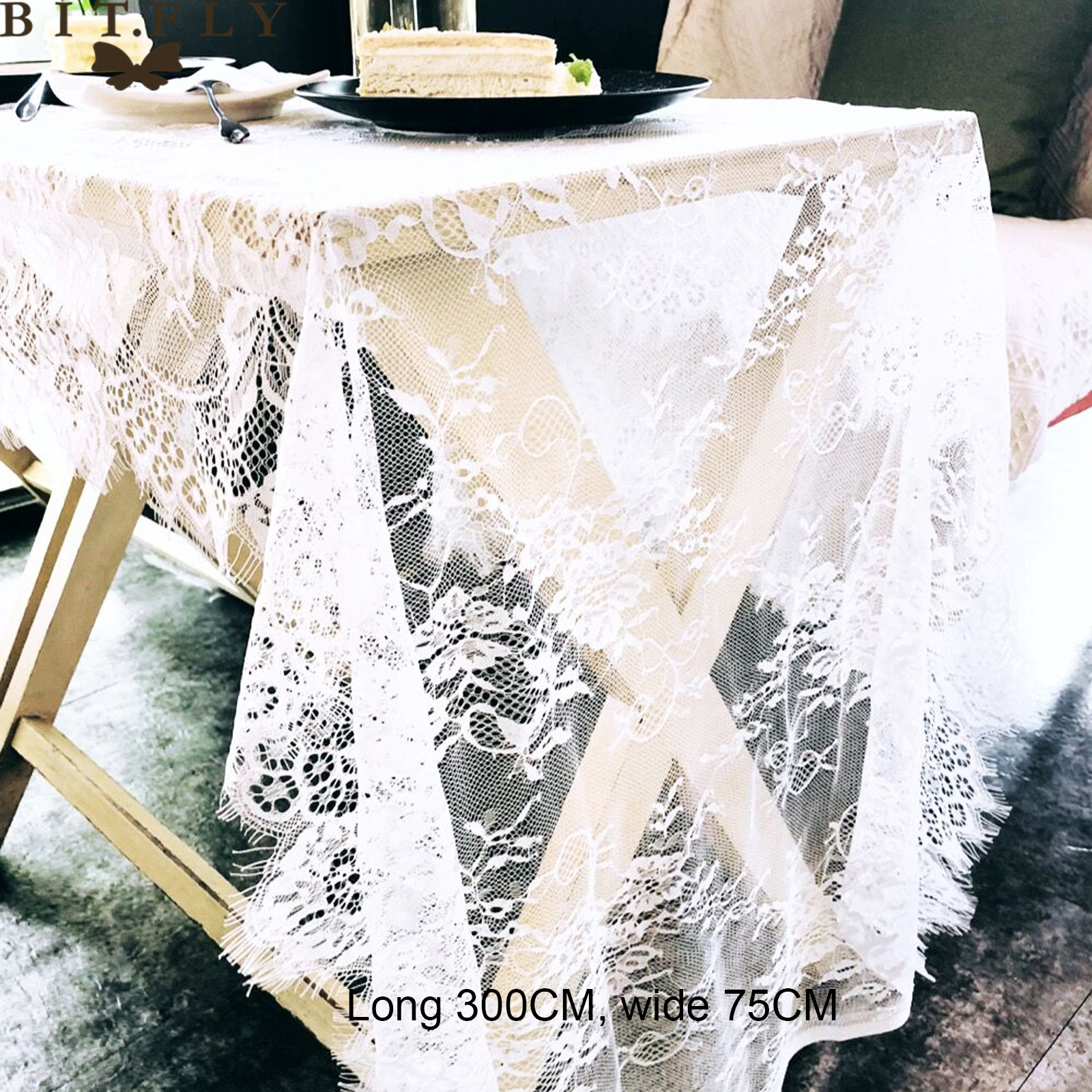 BITFLY 75x300 Cm Romantic White Lace Floral Table Cloth 36x300 Cm Wedding Decoration Table Runner Table Decoration Home Textile
