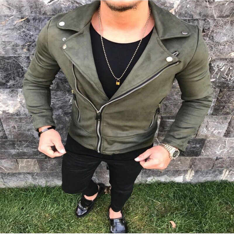 cb2324c5c Stylish Men Pea Coat Warm Suede Leather Blend Biker Jacket Zipper Outwear  Tops England Style Fashion Man Streetwear