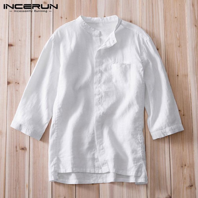 Vacation Beach Plain Shirts Retro Mens Shirt Dress Cotton Linen Three Quarter Loose 3XL Casual Shirt Camisa Hombre Tops Clothes