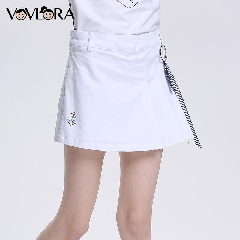 все цены на Regular Summer Sport Kids Shorts Cotton White Pleated Girls Skirt Mid Children Beach Shorts hot 2018 Size 7 8 9 10 11 12 Years онлайн