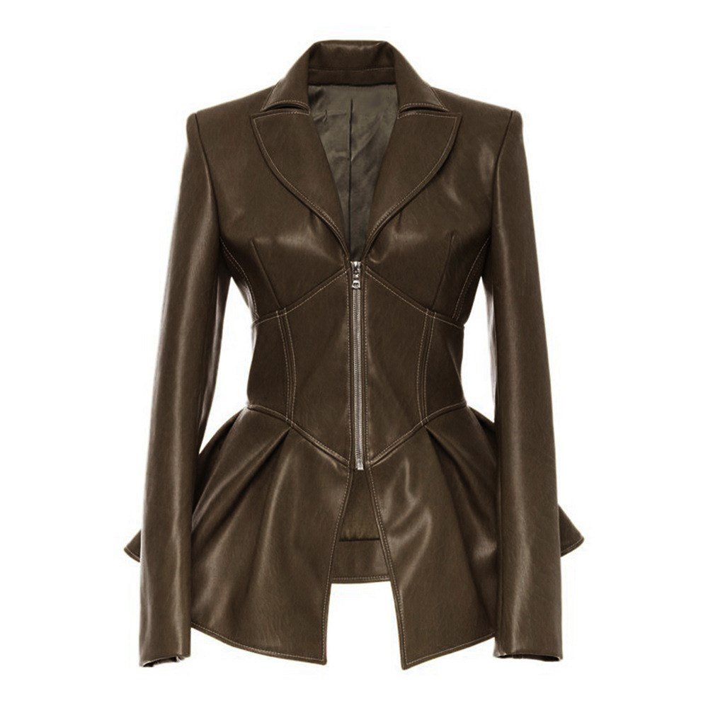 Women Gothic Punk Motorcycle Jacket Solid Plus Size Lapel Pu Coat Slim Faux   Leather   Outerwear