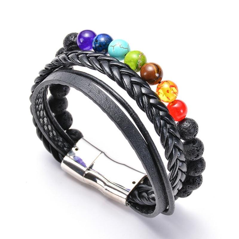 Men's Fashion Matte Lava Rock Stone Leather Bracelet 7 Chakra Yoga Healing Magnet Buckle Bracelet & Bangle Handmade Jewelry