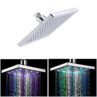 8 inch Multi color Changing LED Light Square Shaped Water Shower Head Shower Faucet Nozzle