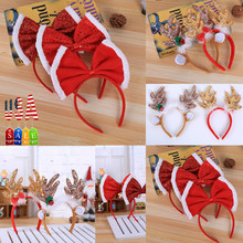 Christmas Baby Headband Red Sequins Bow Reindeer Antlers Santa Xmas Kids Adult Baby Hair Accessories Hat Fancy Dress Hat(China)