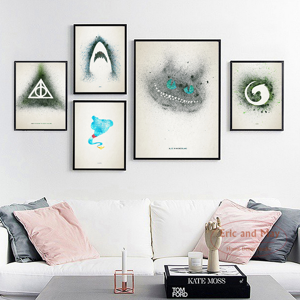 Jaws Watercolor Splashing Movie A4 Canvas Painting Art Print Poster Wall Paintings Modern Home Decor