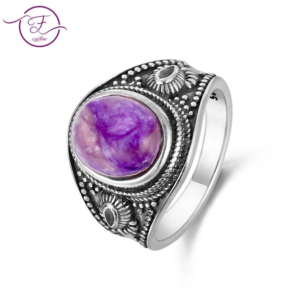 DIY Retro Ring  8x10MM Lapis Lazuli & Purple Dragon &Powder Crystal Oval Gem Men And Women 925 Sterling Silver Jewelry  Gift DIY