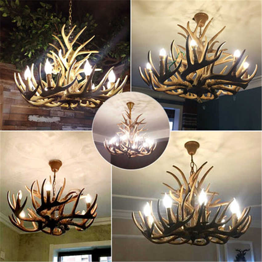 Nordic Candle Antler LED Chandelier Lighting American Hanging Lamp Resin LOFT LED Pendant Lamps Home Decoration Kitchen Fixtures