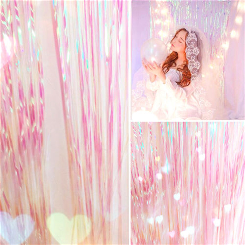 Shimmer Iridescent Foil Fringe Curtain Party Decoration Mermaid Unicorn Take Photo Backdrop Beautiful Fairy Curtain