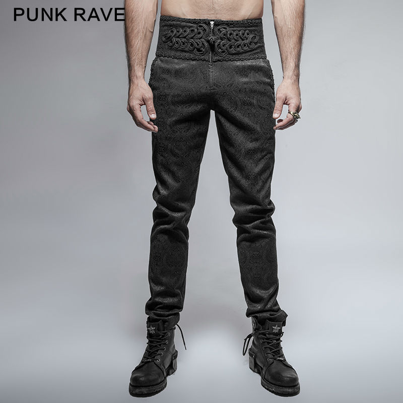 PUNK RAVE Mens Pants Gothic Fashion Retro Daily Peacock Button Casual High Waist Slim-Fitting Trousers Wedding Pants