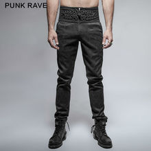 PUNK RAVE Mens Pants Gothic Fashion Retro Daily Peacock Button Casual High Waist Slim-Fitting Trousers Wedding