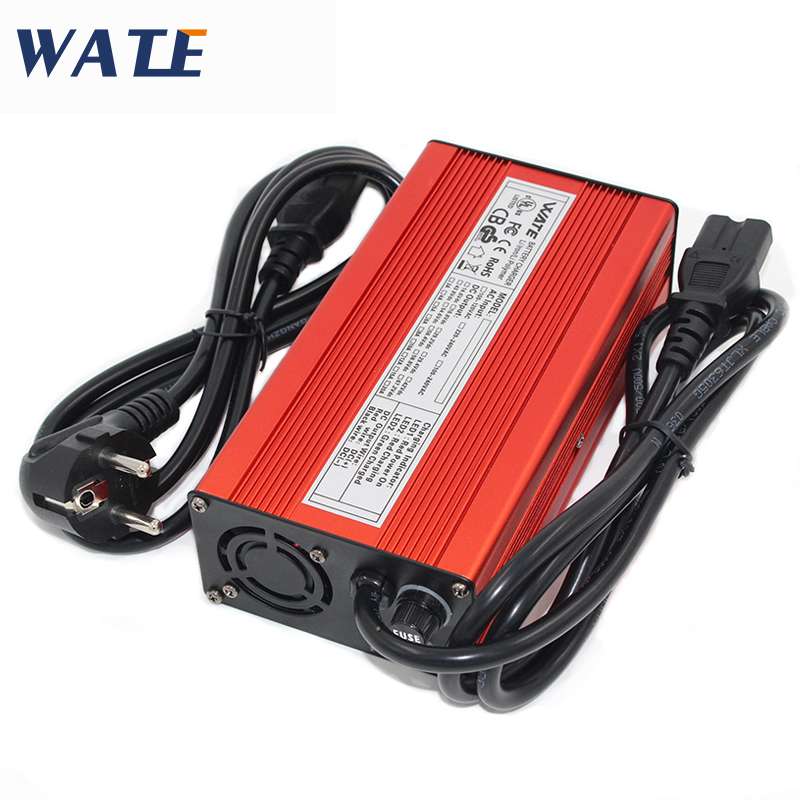 67.2V 3A Charger 60V Li ion Battery Smart Charger Used for 16S 60V Li ion Battery High Power With Fan Red Aluminum Case