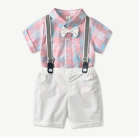 baby's set's Baby's first full moon short sleeve suspenders suit pure cotton